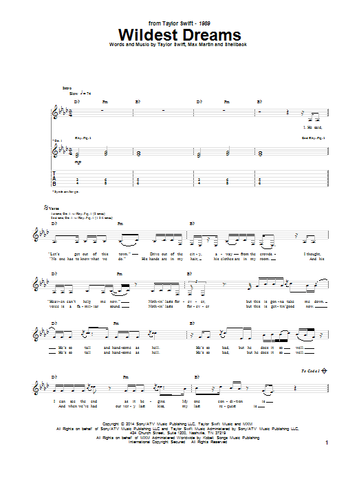 Wildest Dreams Guitar Tab by Taylor Swift (Guitar Tab u2013 157076)