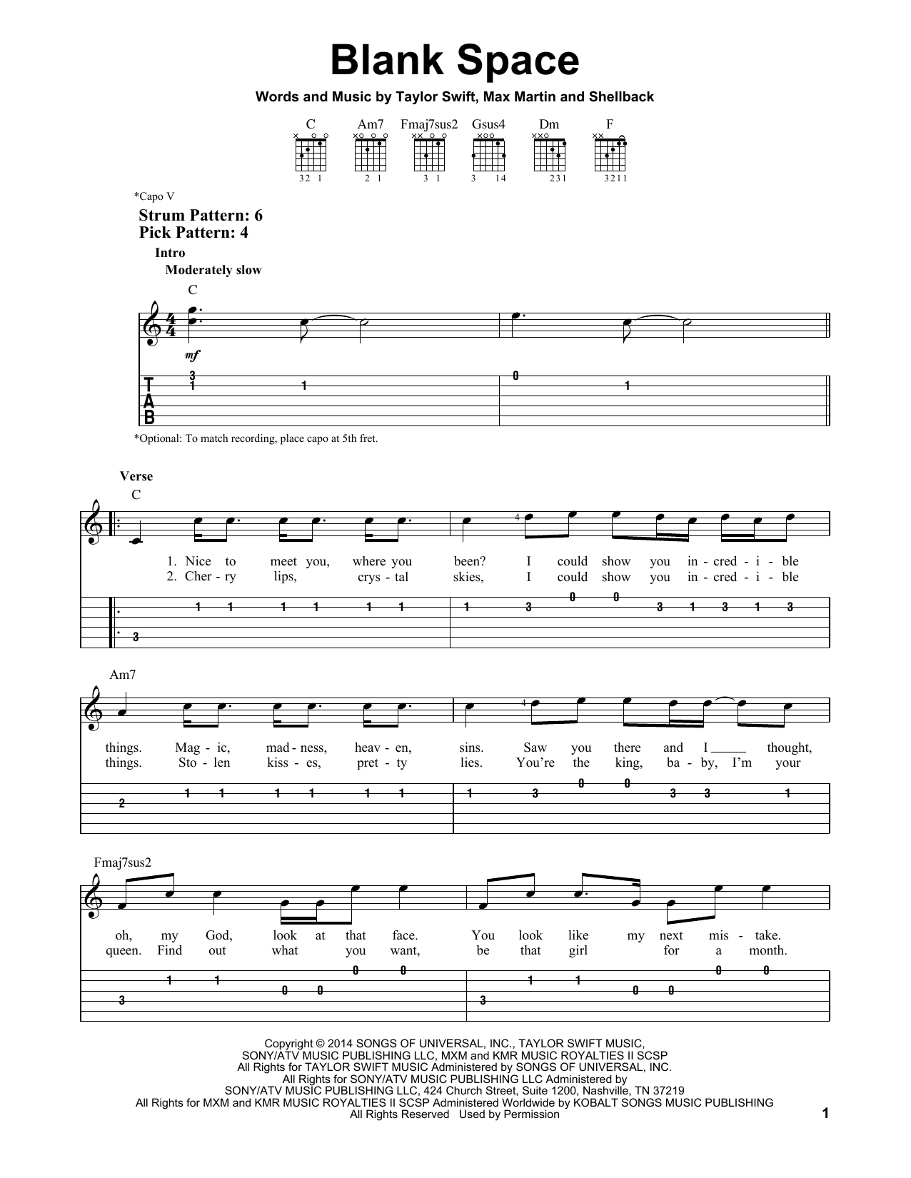 Blank Space sheet music by Taylor Swift (Easy Guitar Tab u2013 157085)