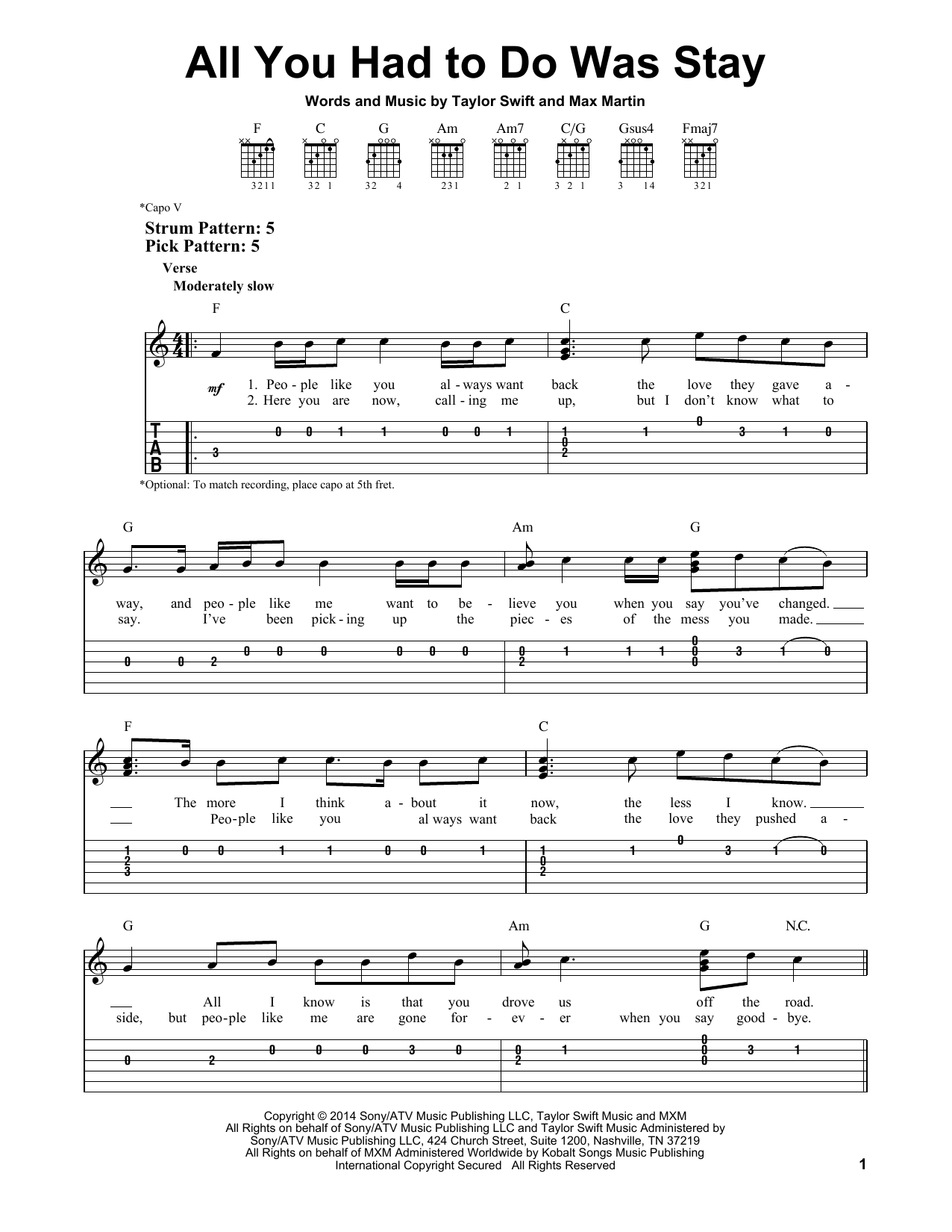 Tablature guitare All You Had To Do Was Stay de Taylor Swift - Tablature guitare facile