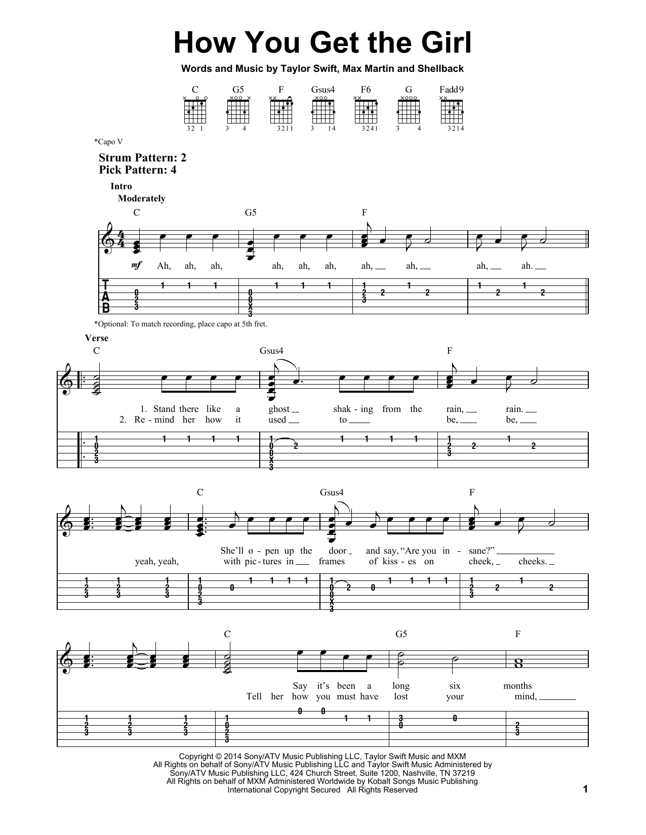 Tablature guitare How You Get The Girl de Taylor Swift - Tablature guitare facile