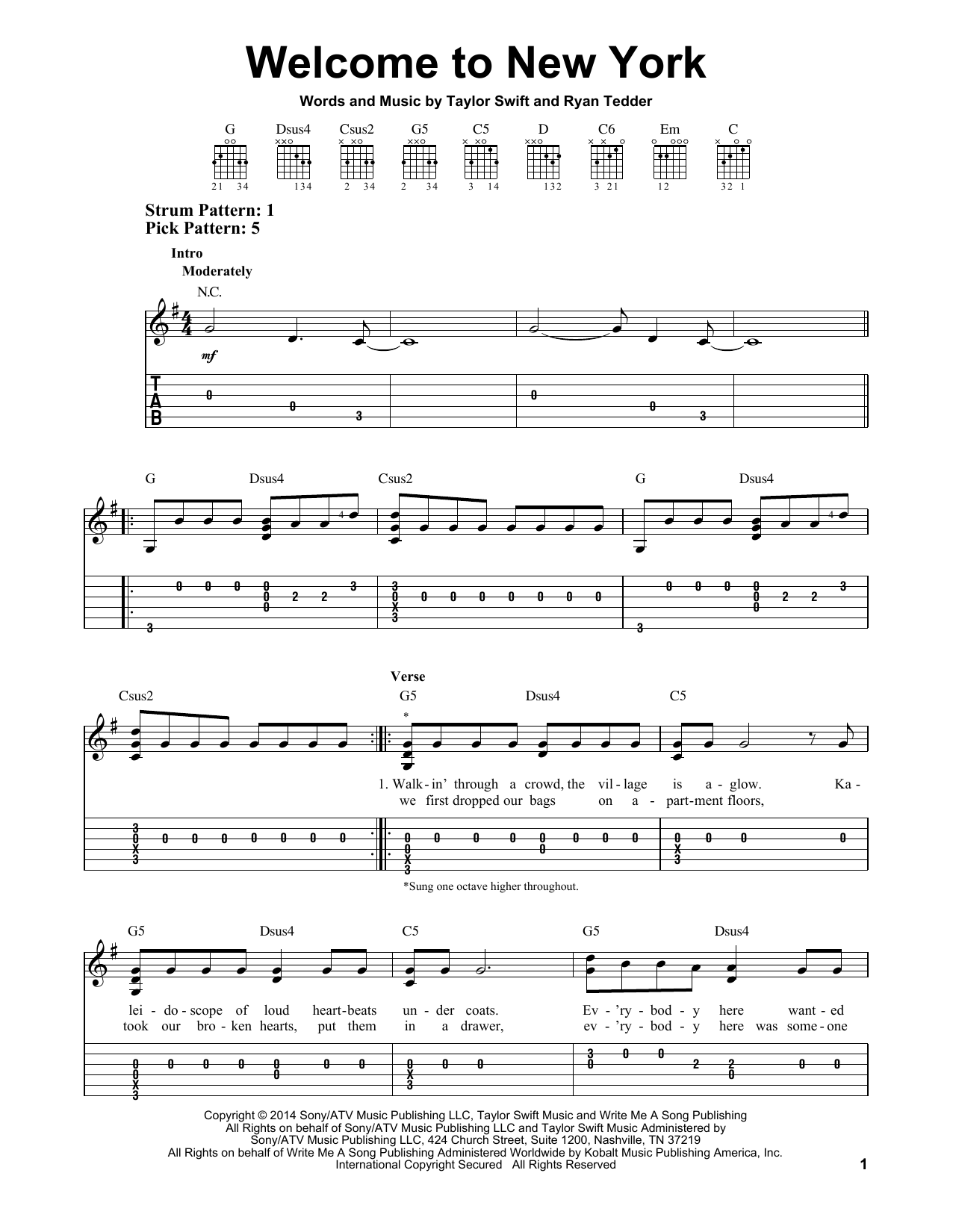 Tablature guitare Welcome To New York de Taylor Swift - Tablature guitare facile