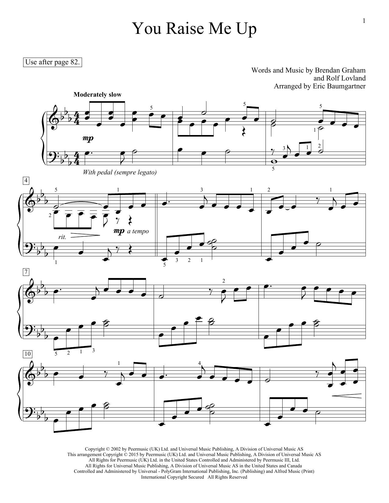 Partition piano You Raise Me Up de Josh Groban - Piano Facile