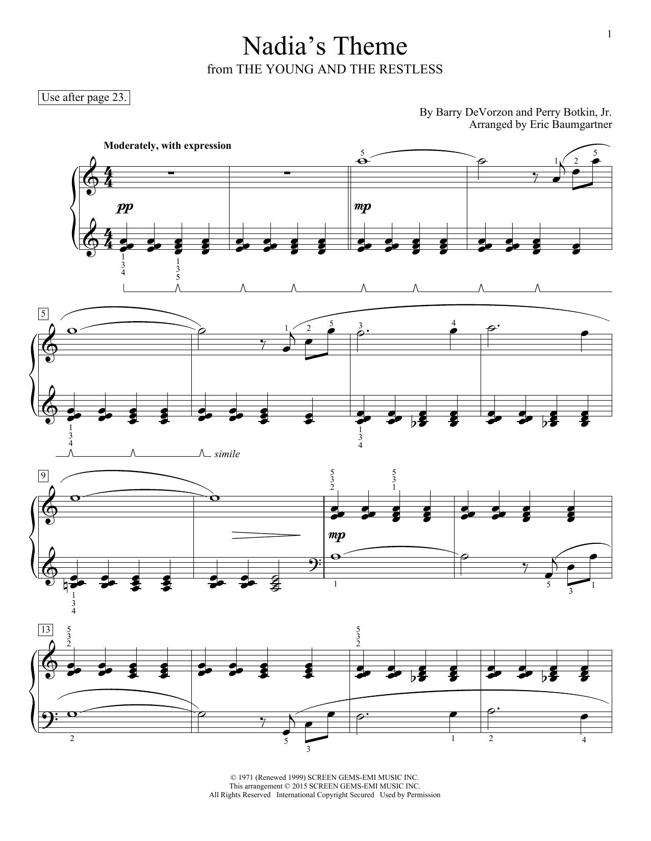 Partition piano Nadia's Theme de Barry DeVorzon & Perry Botkin, Jr. - Piano Facile