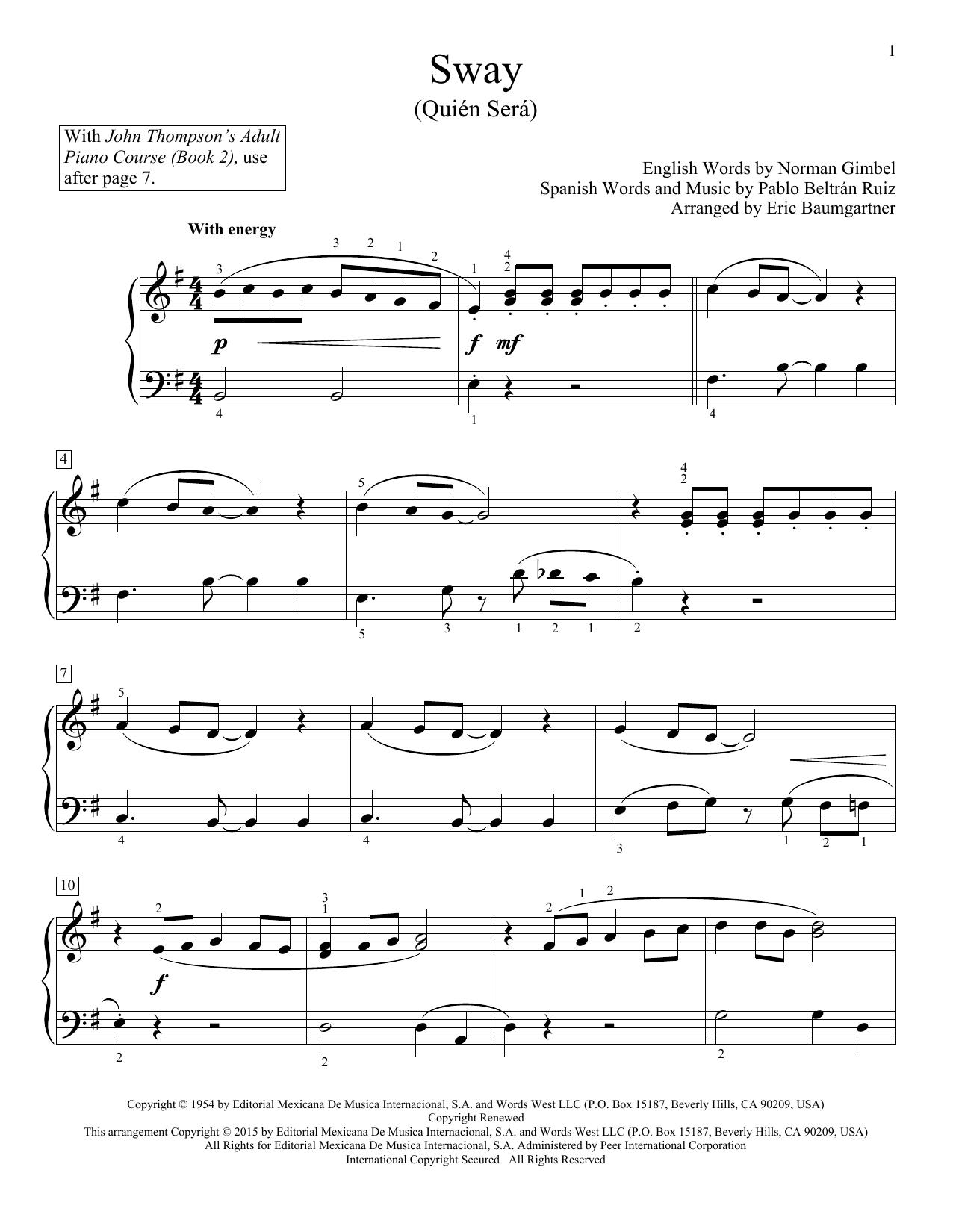 Partition piano Sway (Quien Sera) de Dean Martin - Piano Facile