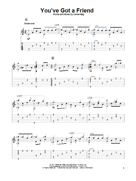 Tablature guitare You've Got A Friend de James Taylor - Tablature Guitare