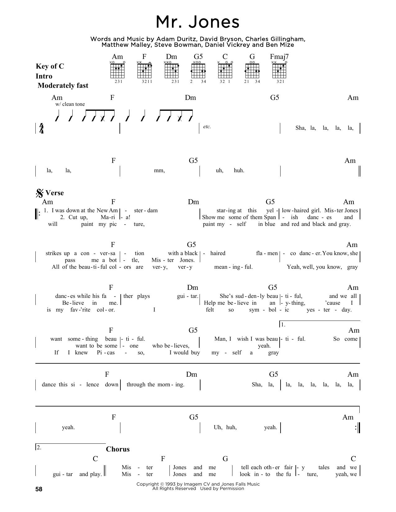 Partition autre Mr. Jones de Counting Crows - Tablature Guitare Lead