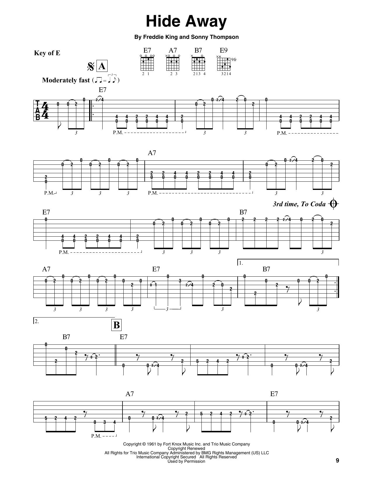 Partition autre Hide Away de Freddie King - Tablature Guitare Lead