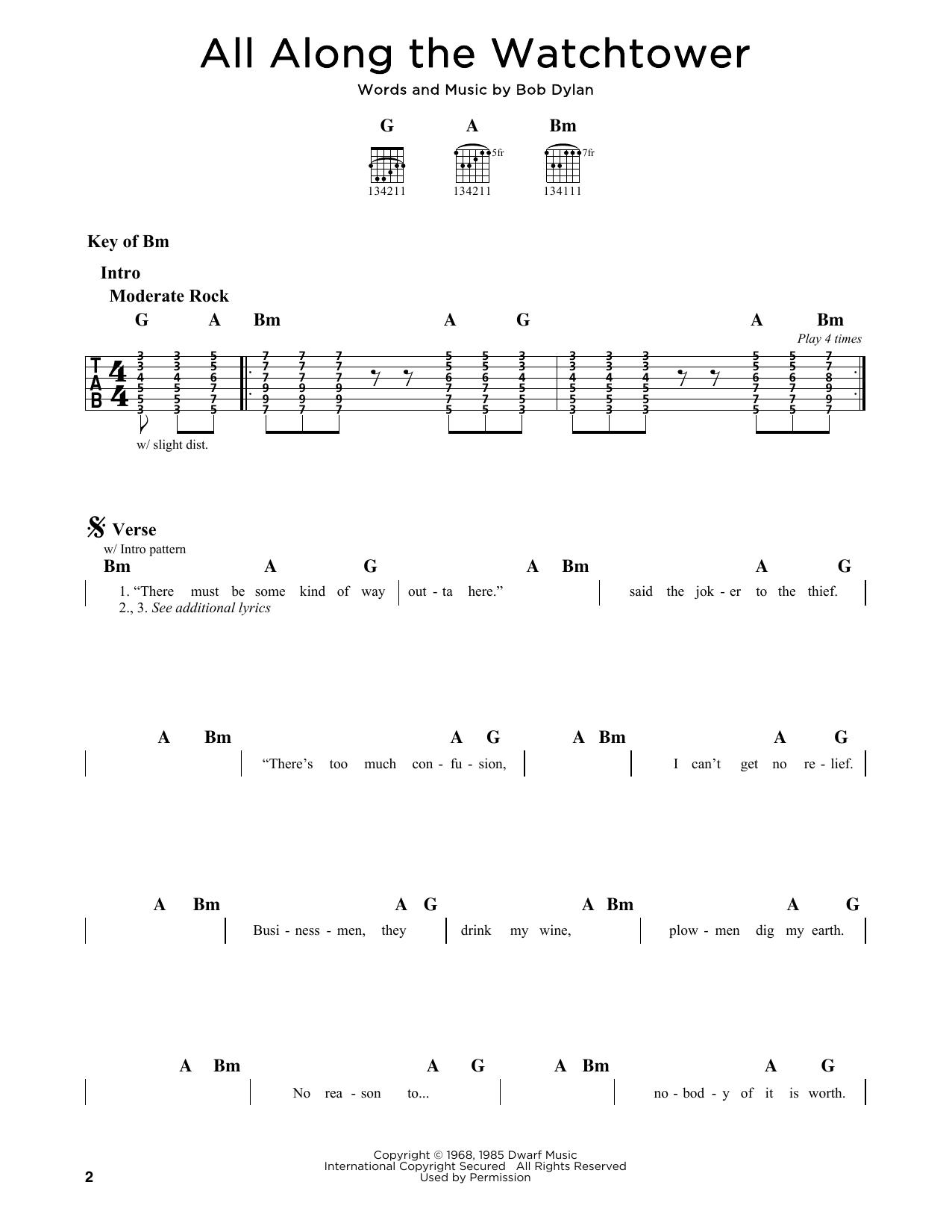 Partition autre All Along The Watchtower de Bob Dylan - Tablature Guitare Lead