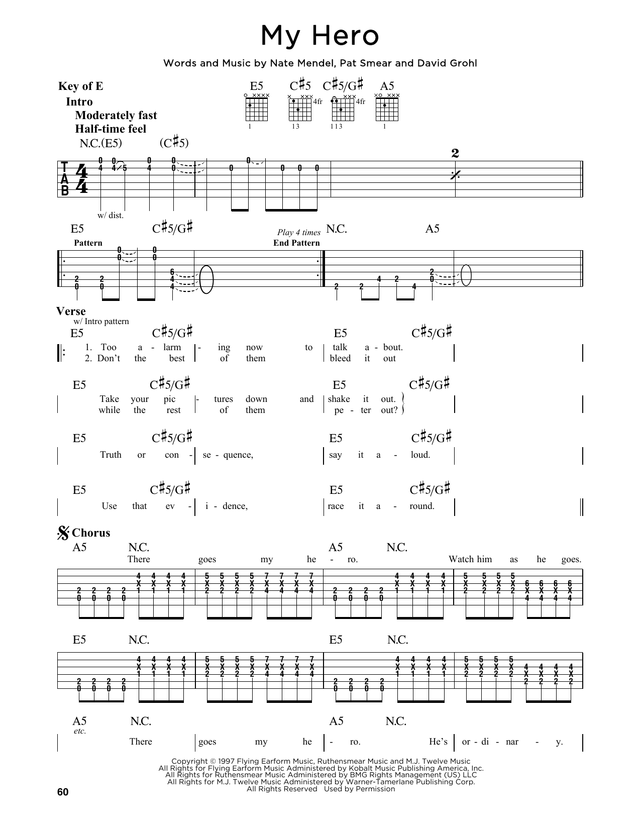 Partition autre My Hero de Foo Fighters - Tablature Guitare Lead
