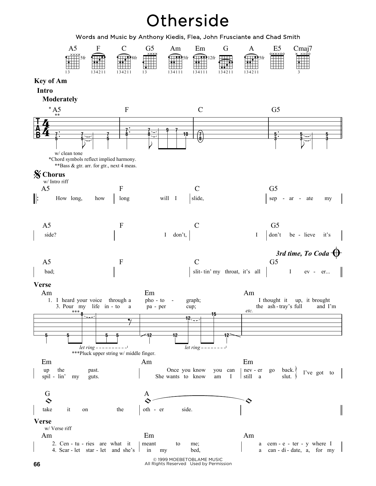 Partition autre Otherside de Red Hot Chili Peppers - Tablature Guitare Lead
