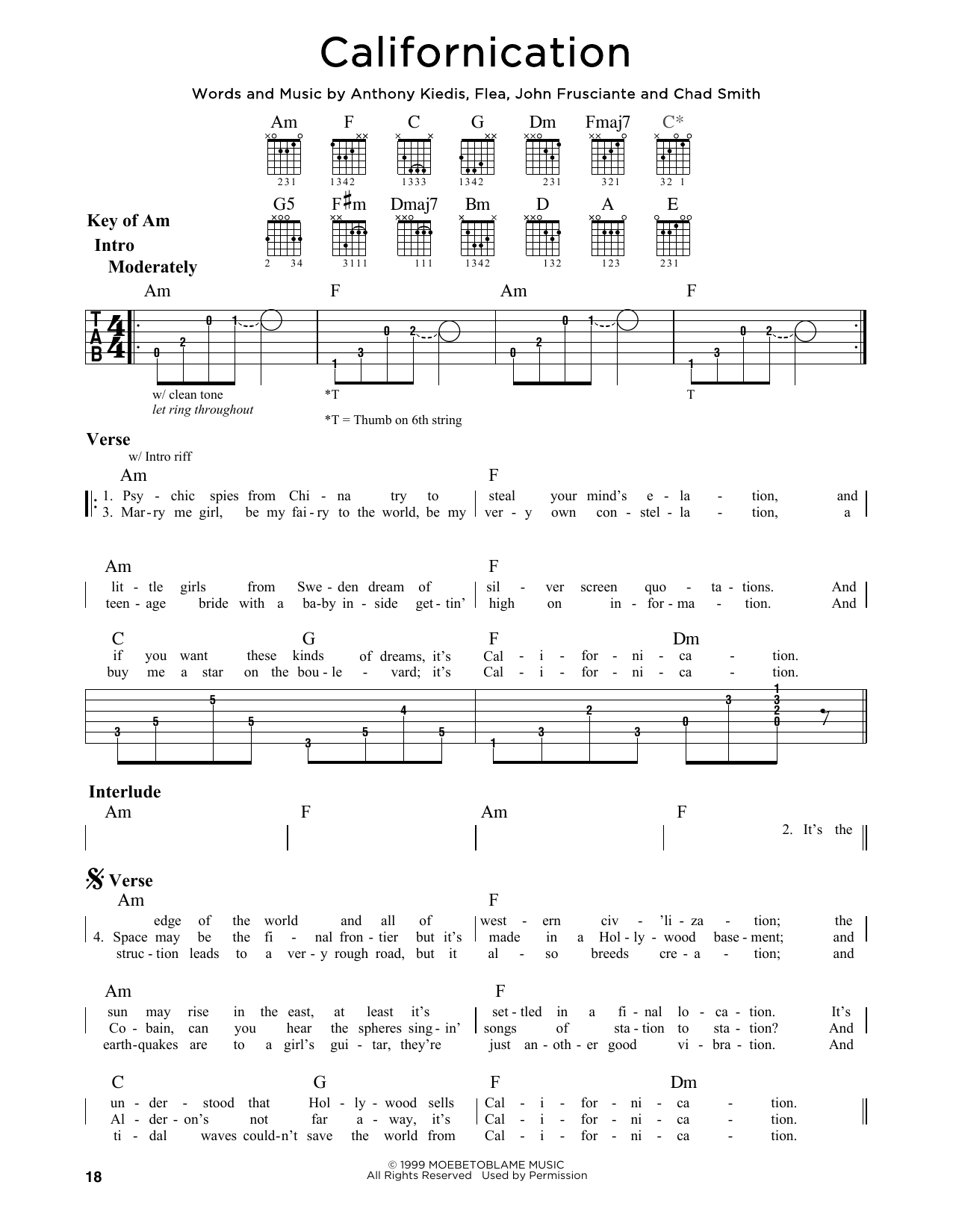 Partition autre Californication de Red Hot Chili Peppers - Tablature Guitare Lead