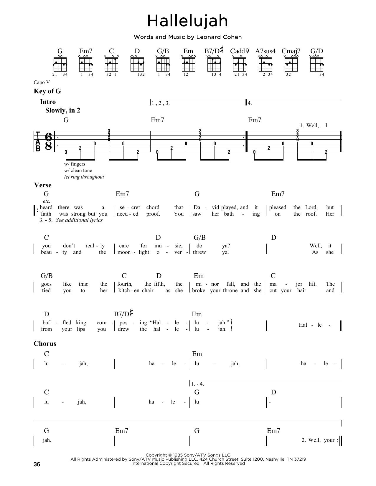 Partition autre Hallelujah de Leonard Cohen - Tablature Guitare Lead