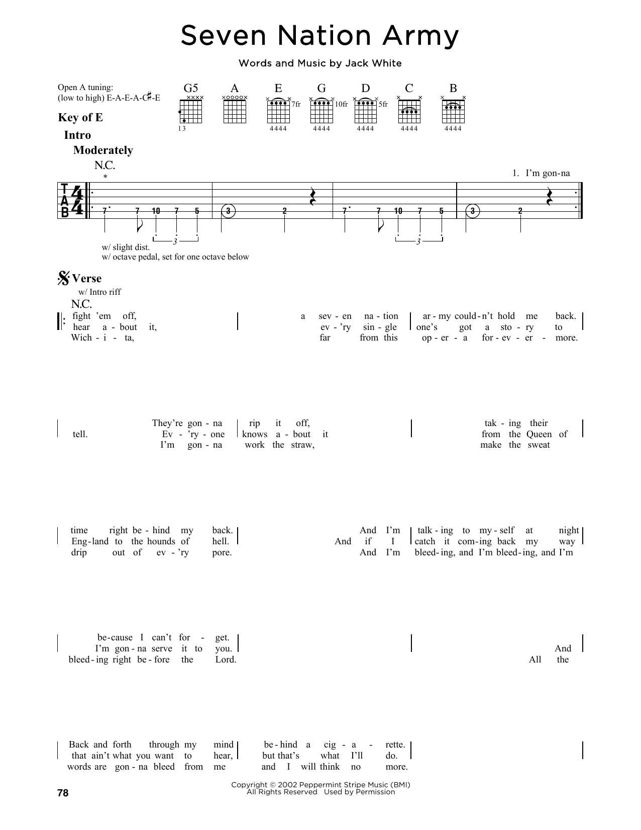 Partition autre Seven Nation Army de The White Stripes - Tablature Guitare Lead