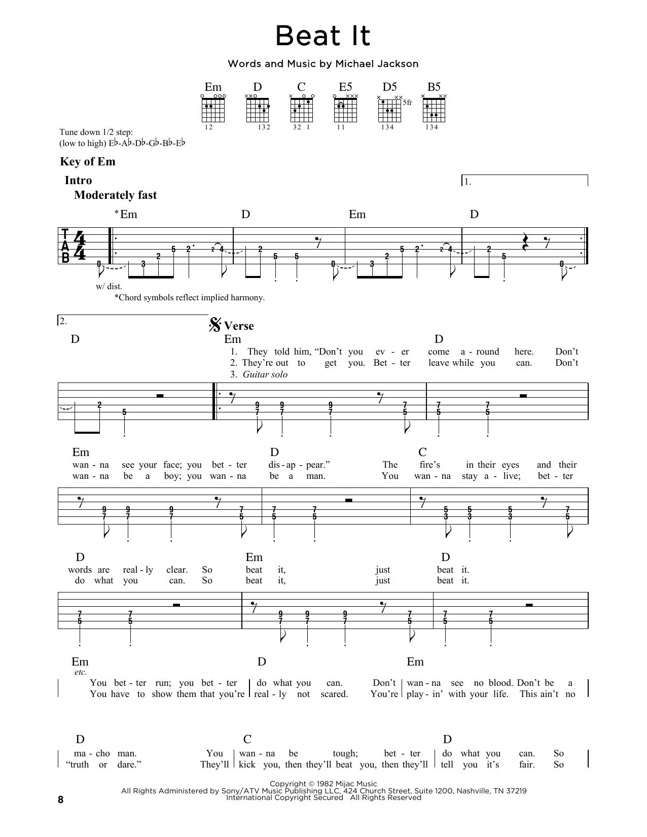 Partition autre Beat It de Michael Jackson - Tablature Guitare Lead