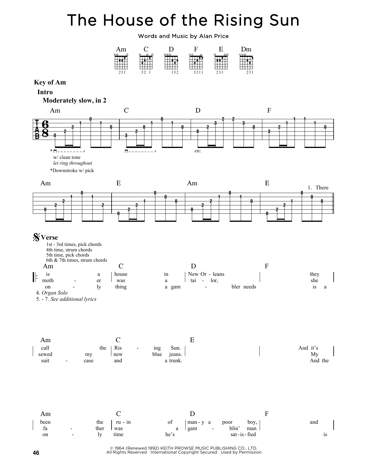 Partition autre The House Of The Rising Sun de The Animals - Tablature Guitare Lead
