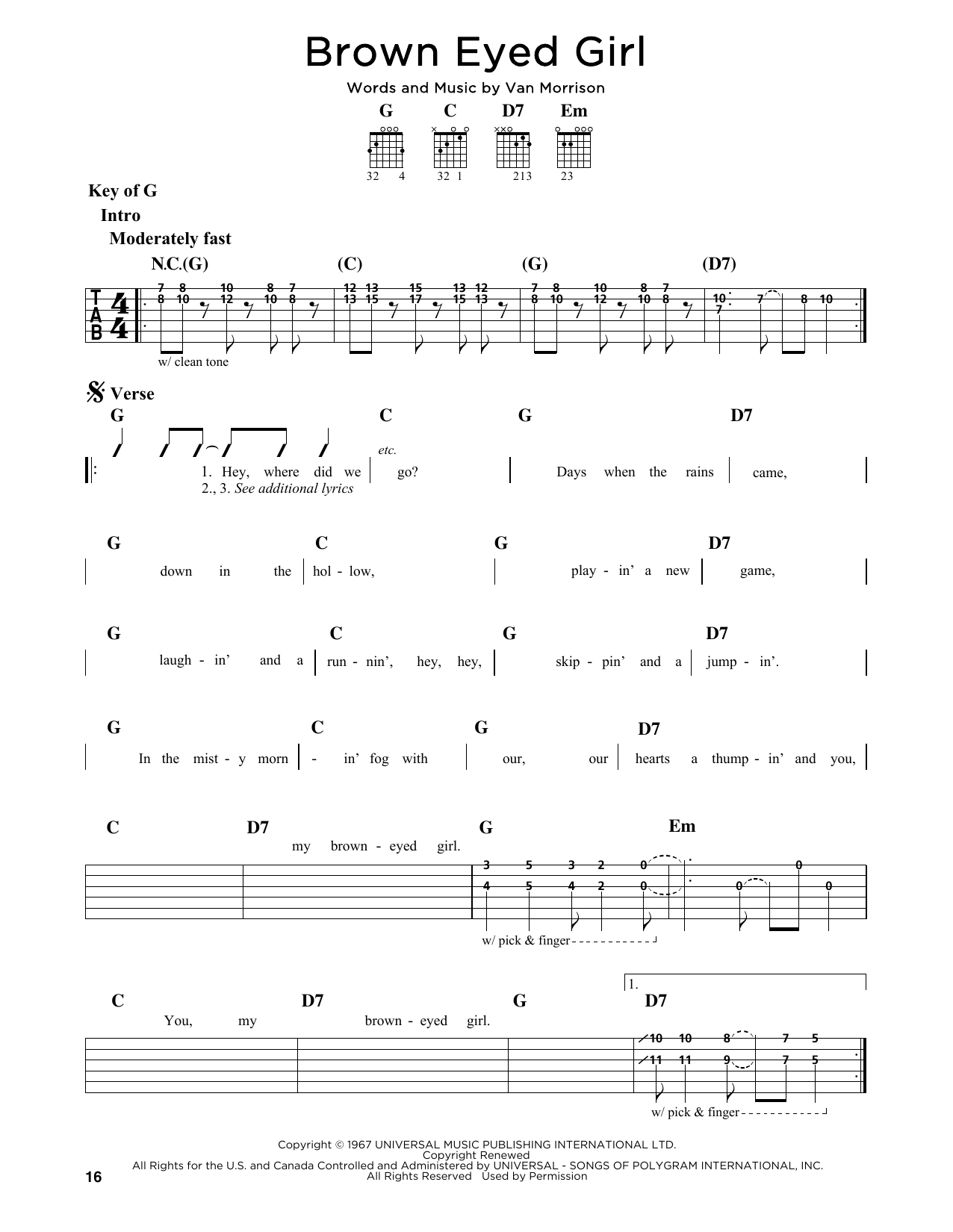 Partition autre Brown Eyed Girl de Van Morrison - Tablature Guitare Lead