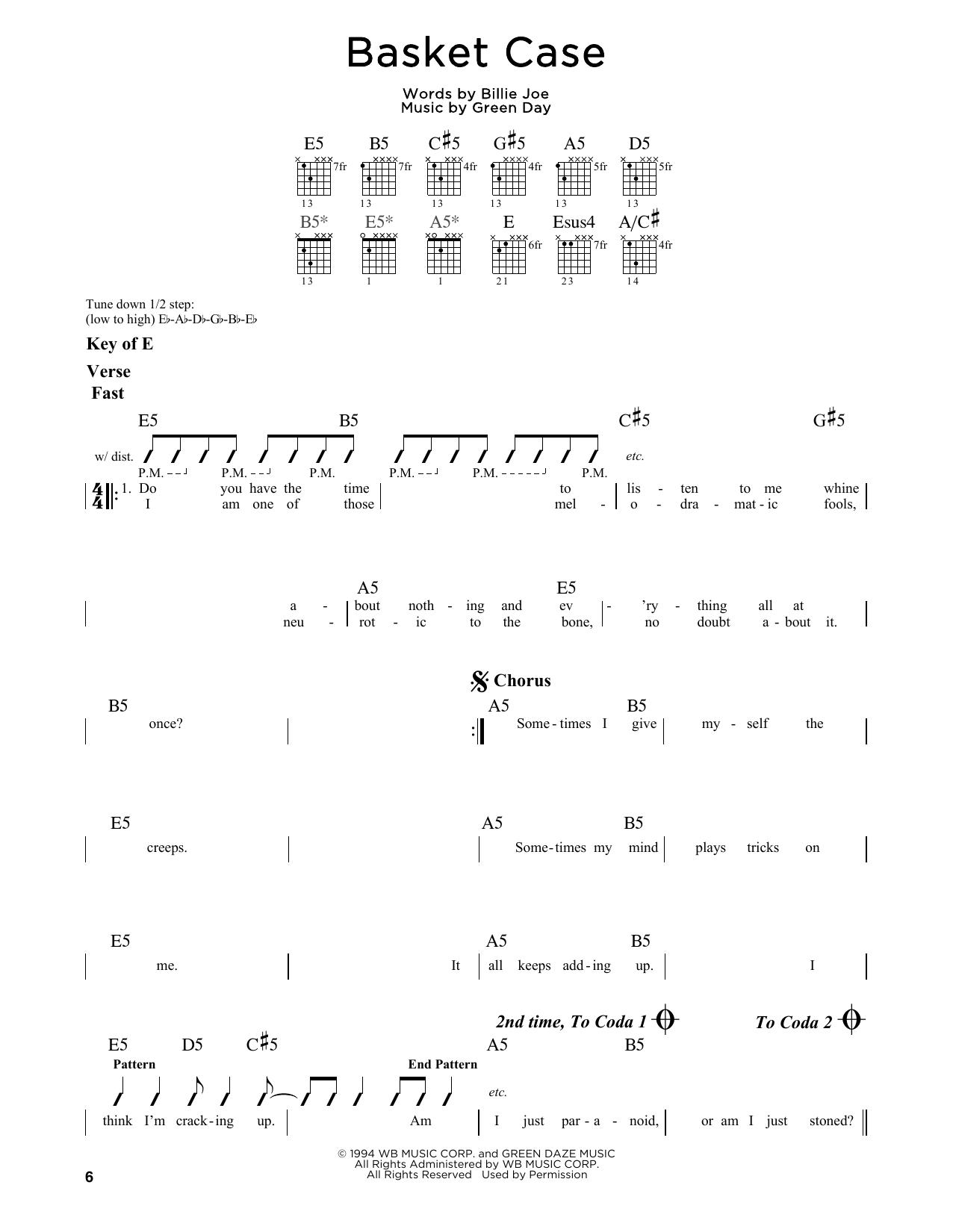 Partition autre Basket Case de Green Day - Tablature Guitare Lead