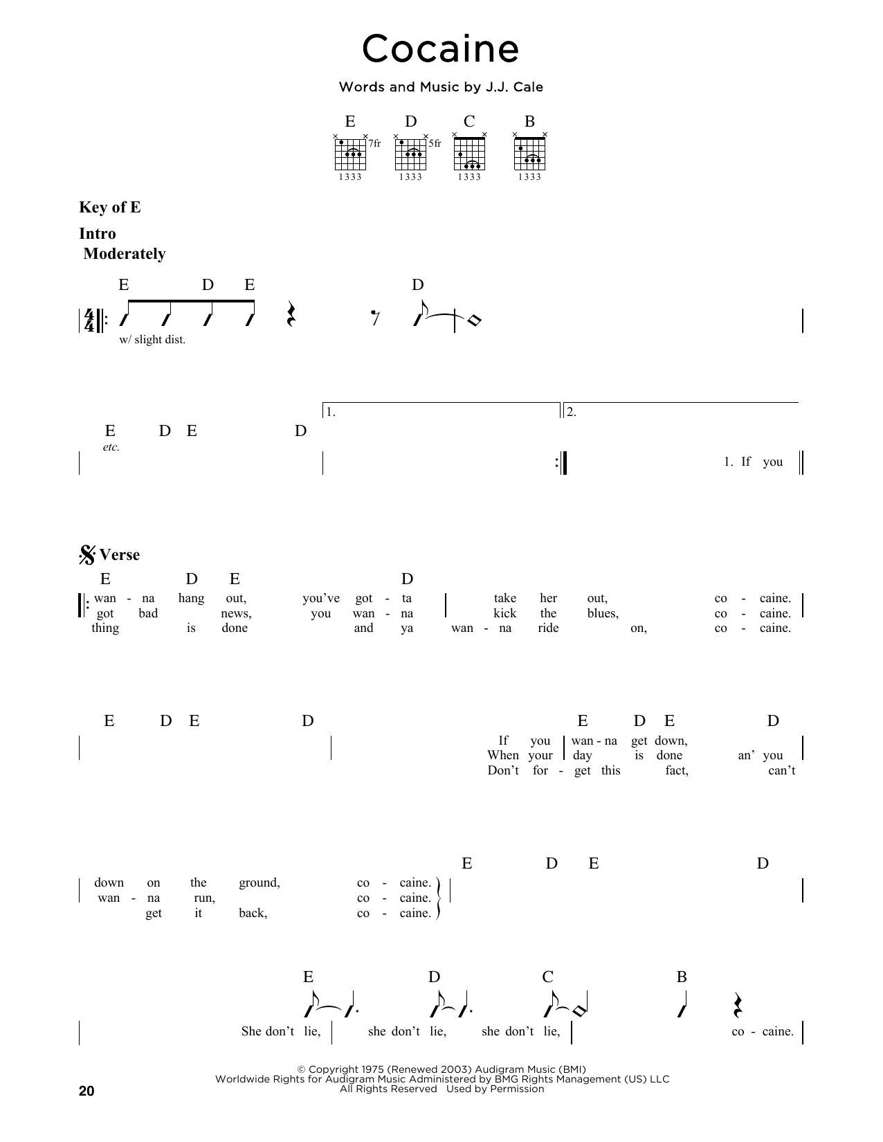 Partition autre Cocaine de Eric Clapton - Tablature Guitare Lead