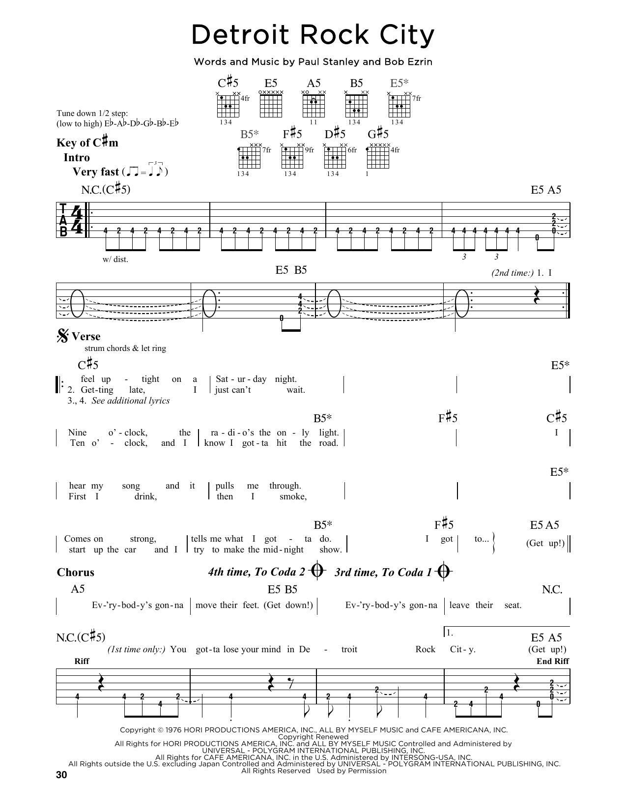 Partition autre Detroit Rock City de Kiss - Tablature Guitare Lead