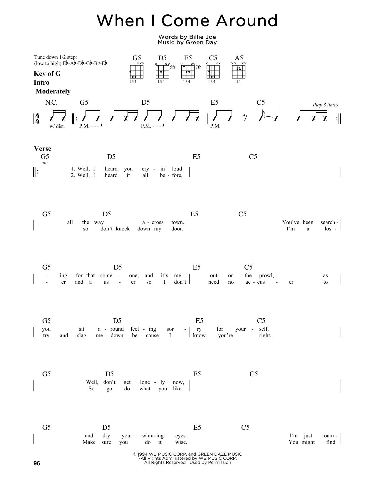 Green Day - When I Come Around Guitar Lesson Tutorial ...