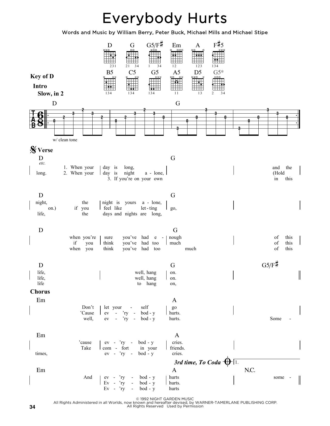 Partition autre Everybody Hurts de R.E.M. - Tablature Guitare Lead