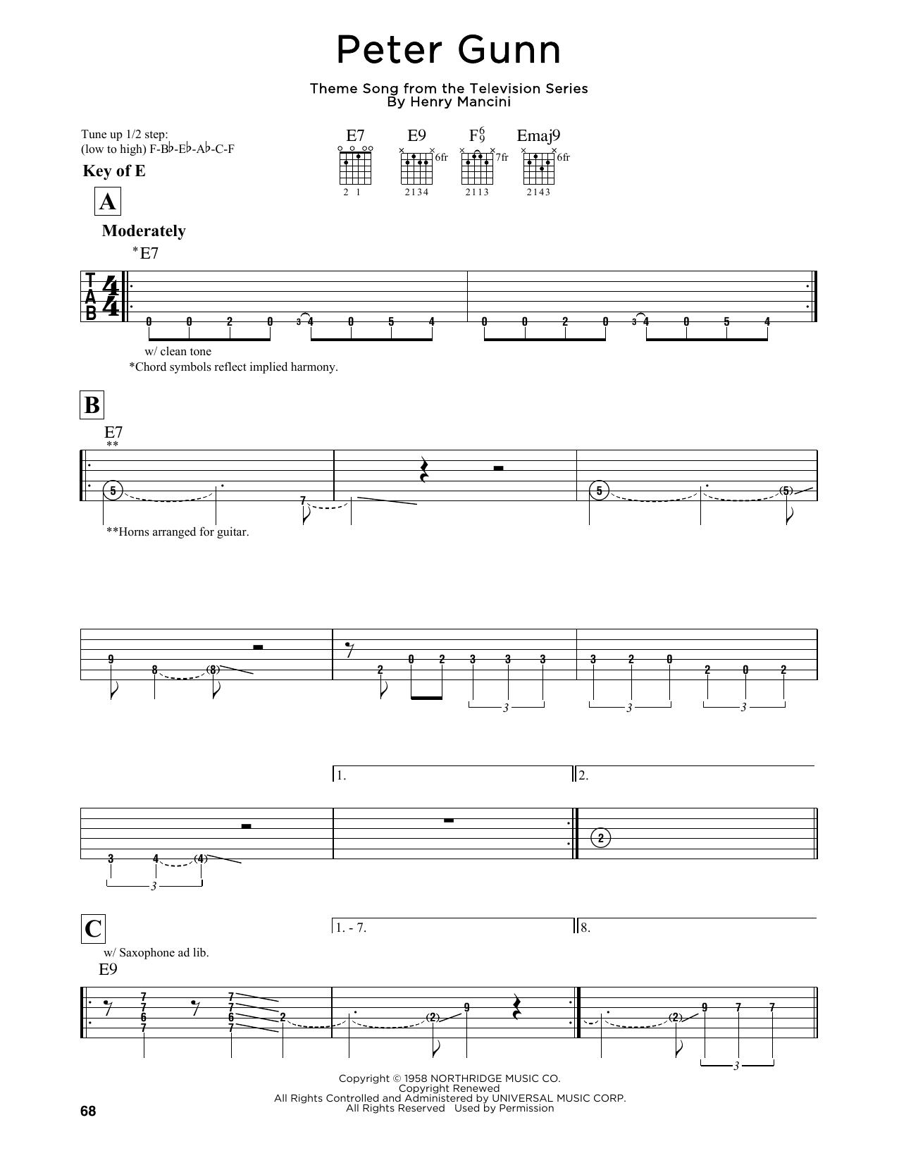 Partition autre Peter Gunn de Henry Mancini - Tablature Guitare Lead