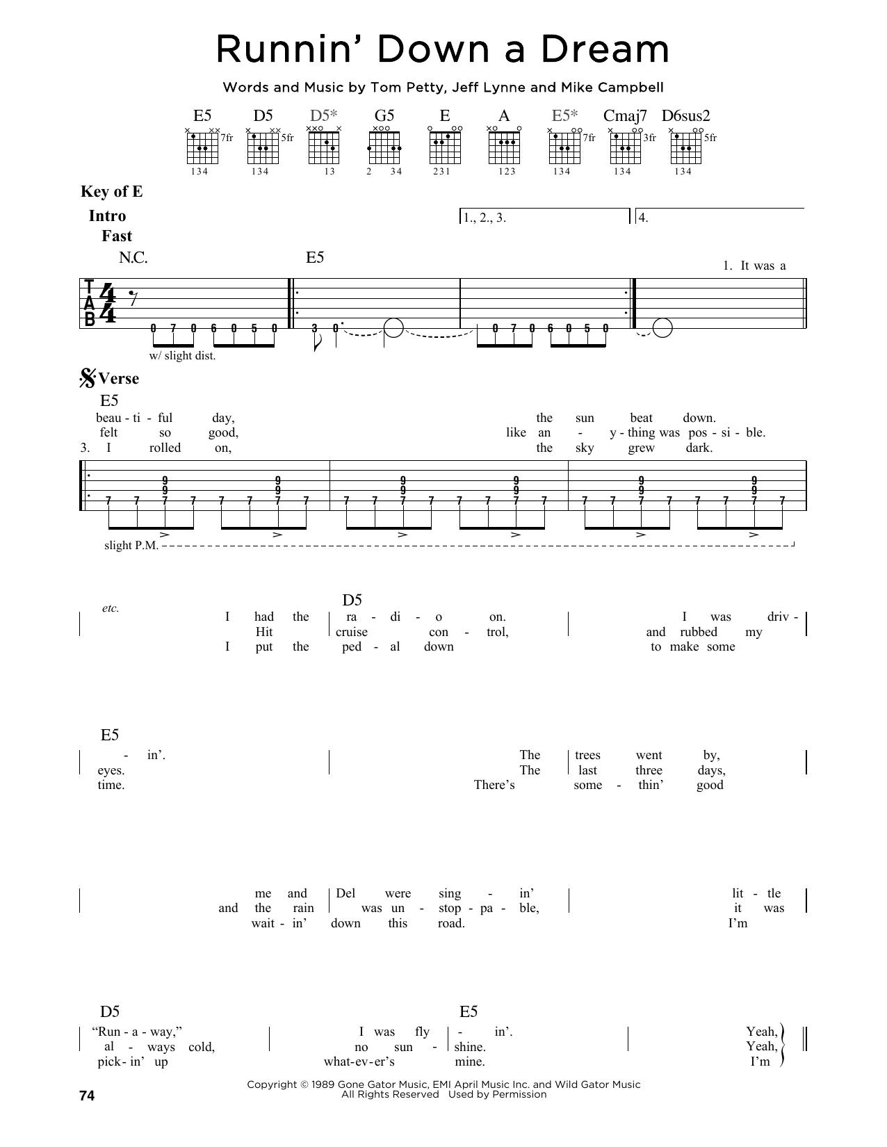Partition autre Runnin' Down A Dream de Tom Petty - Tablature Guitare Lead