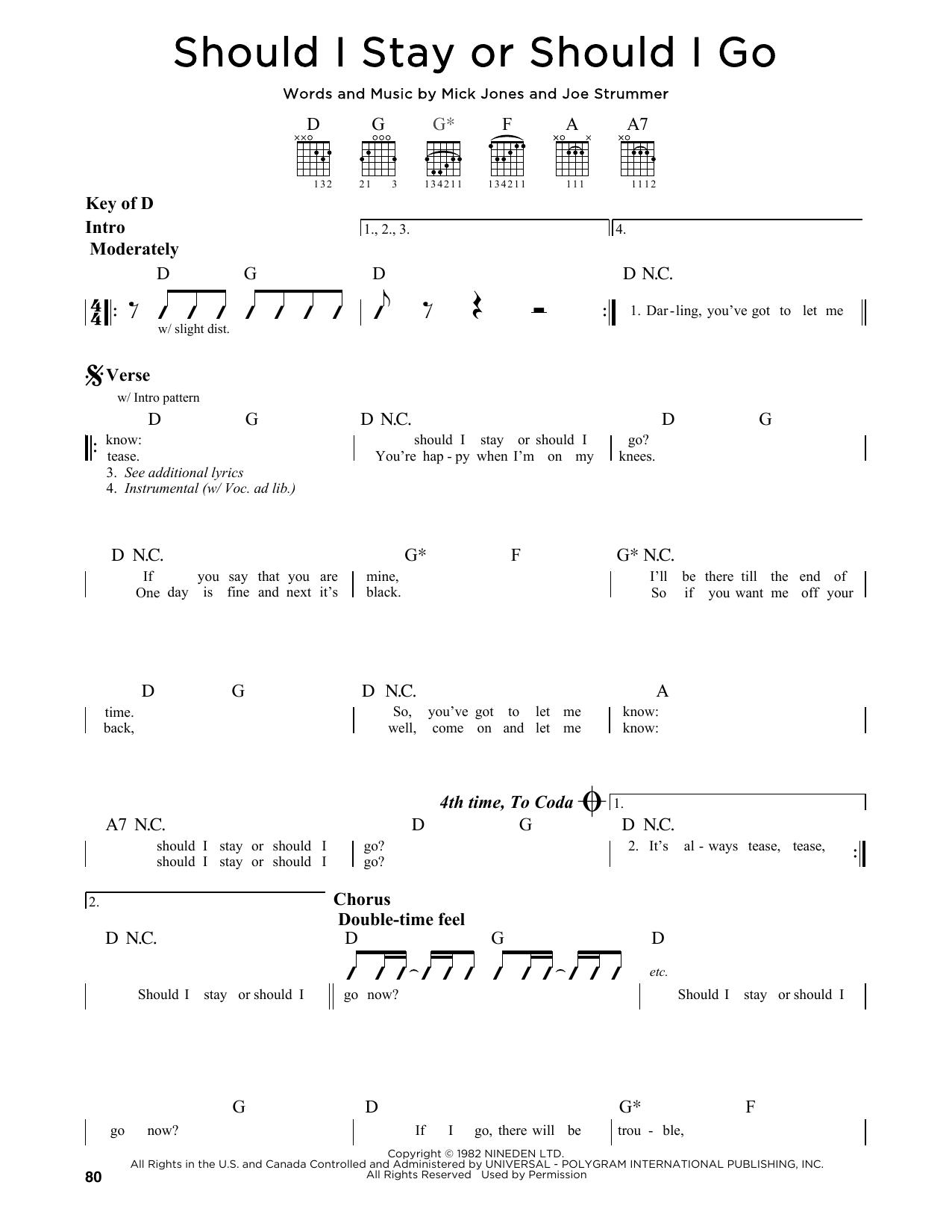 Partition autre Should I Stay Or Should I Go de The Clash - Tablature Guitare Lead