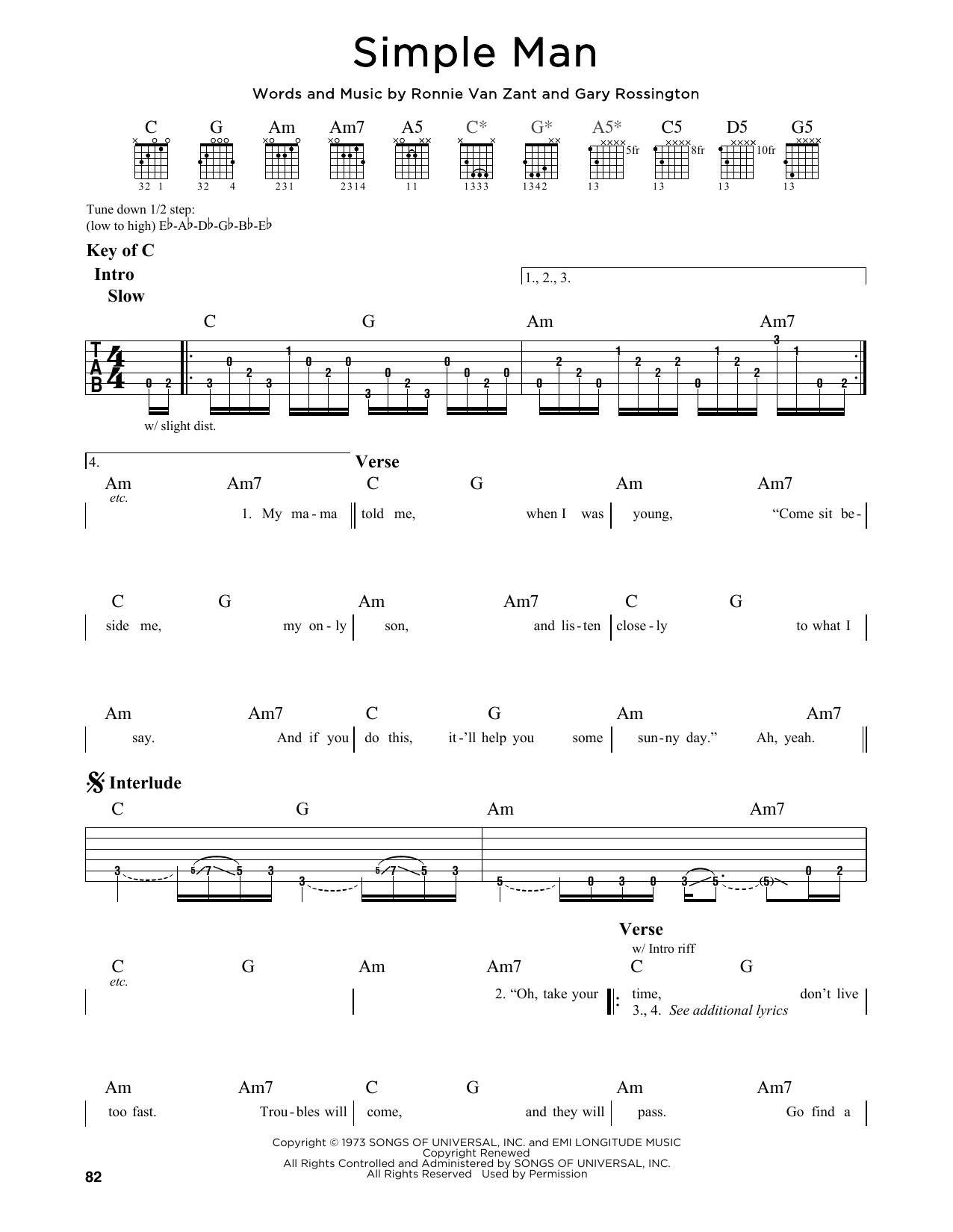 Partition autre Simple Man de Lynyrd Skynyrd - Tablature Guitare Lead