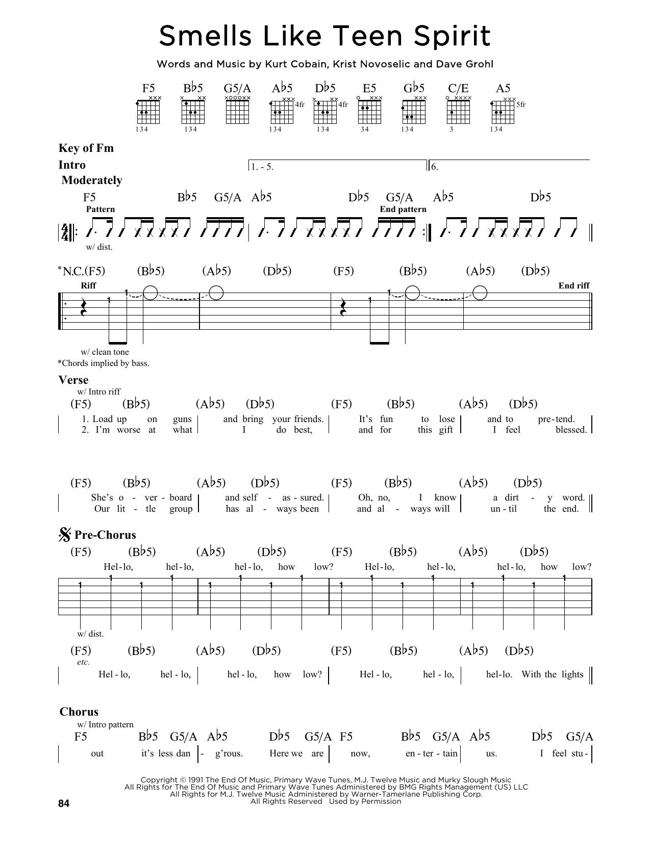 Partition autre Smells Like Teen Spirit de Nirvana - Tablature Guitare Lead