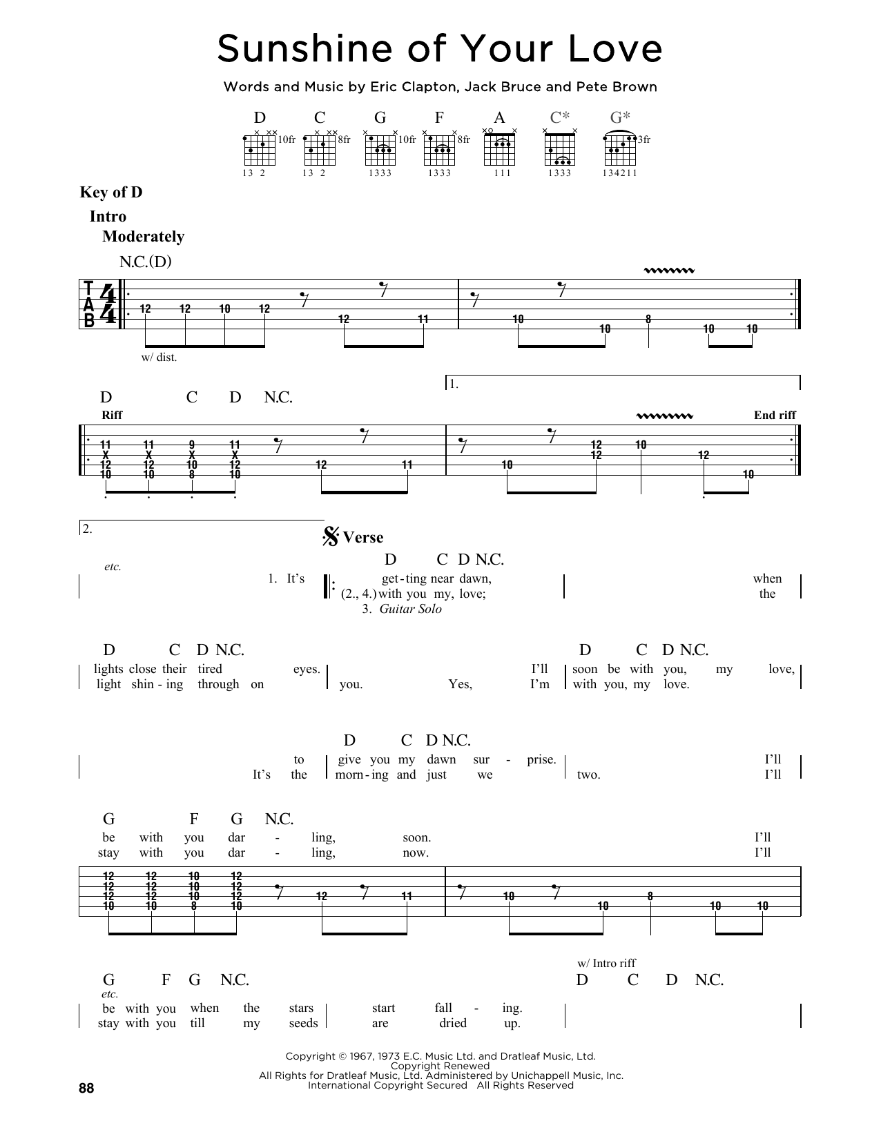 Partition autre Sunshine Of Your Love de Cream - Tablature Guitare Lead