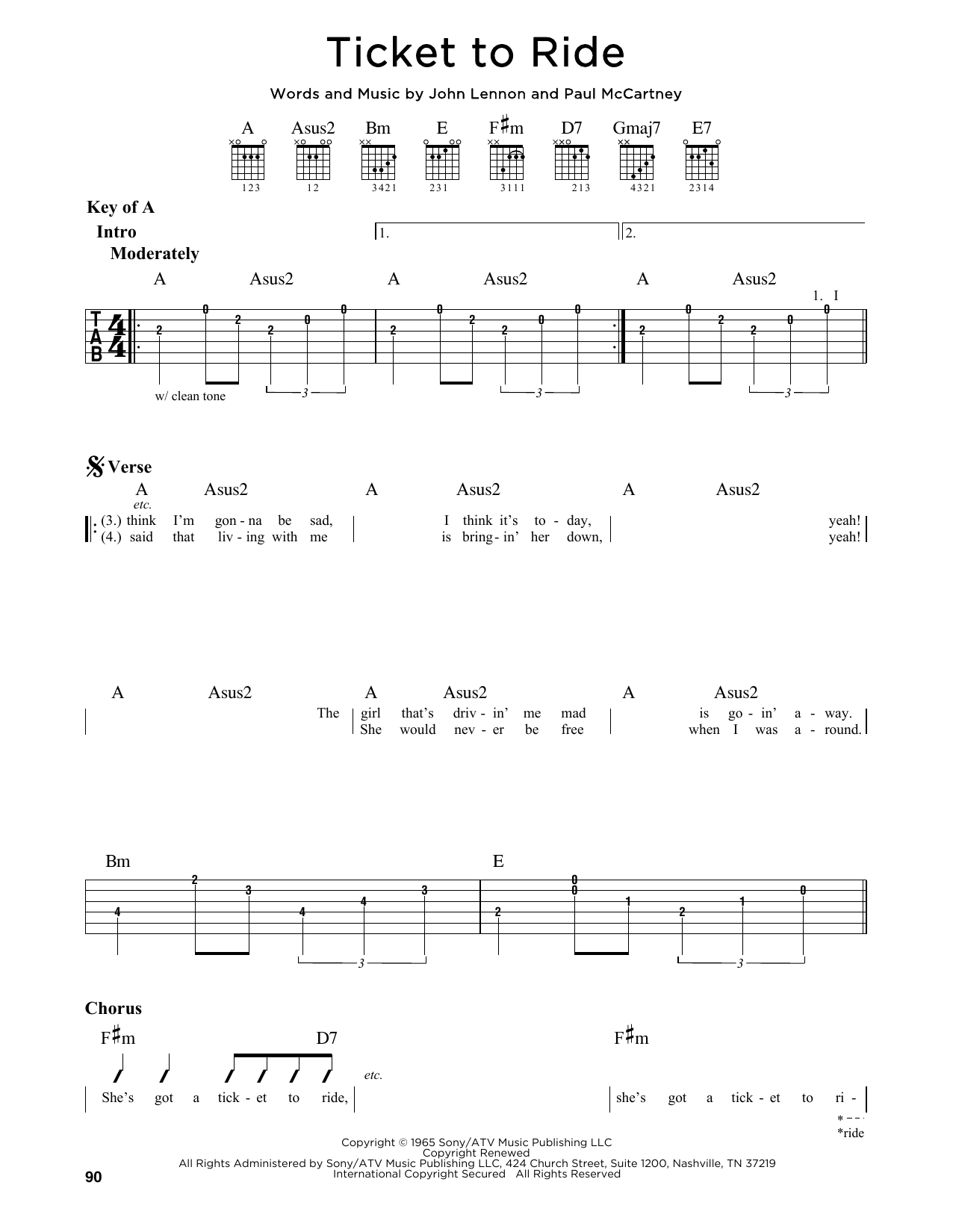 Partition autre Ticket To Ride de The Beatles - Tablature Guitare Lead