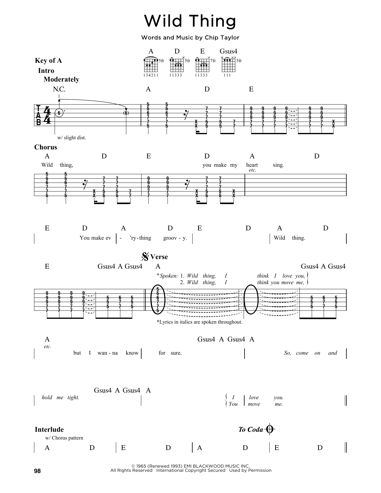 Partition autre Wild Thing de The Troggs - Tablature Guitare Lead