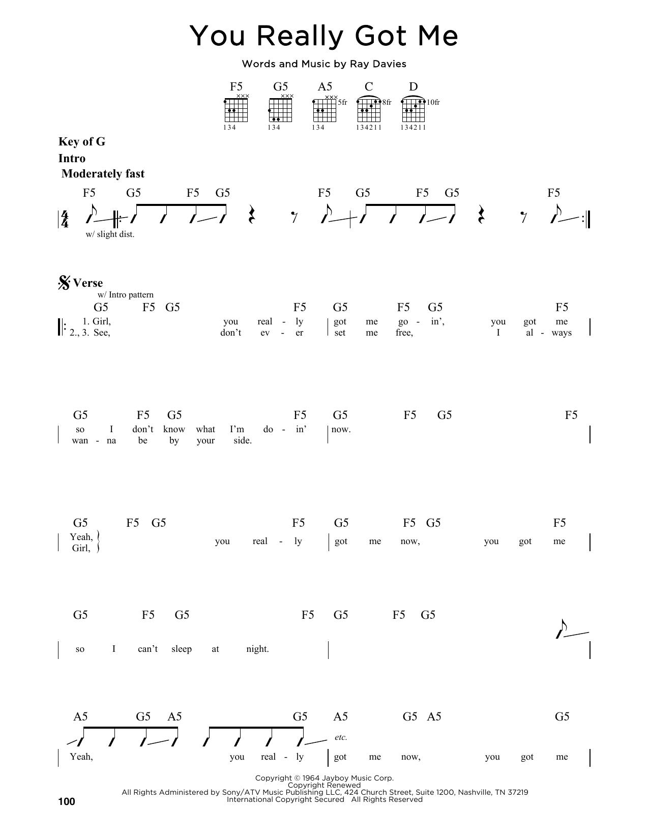 Partition autre You Really Got Me de The Kinks - Tablature Guitare Lead