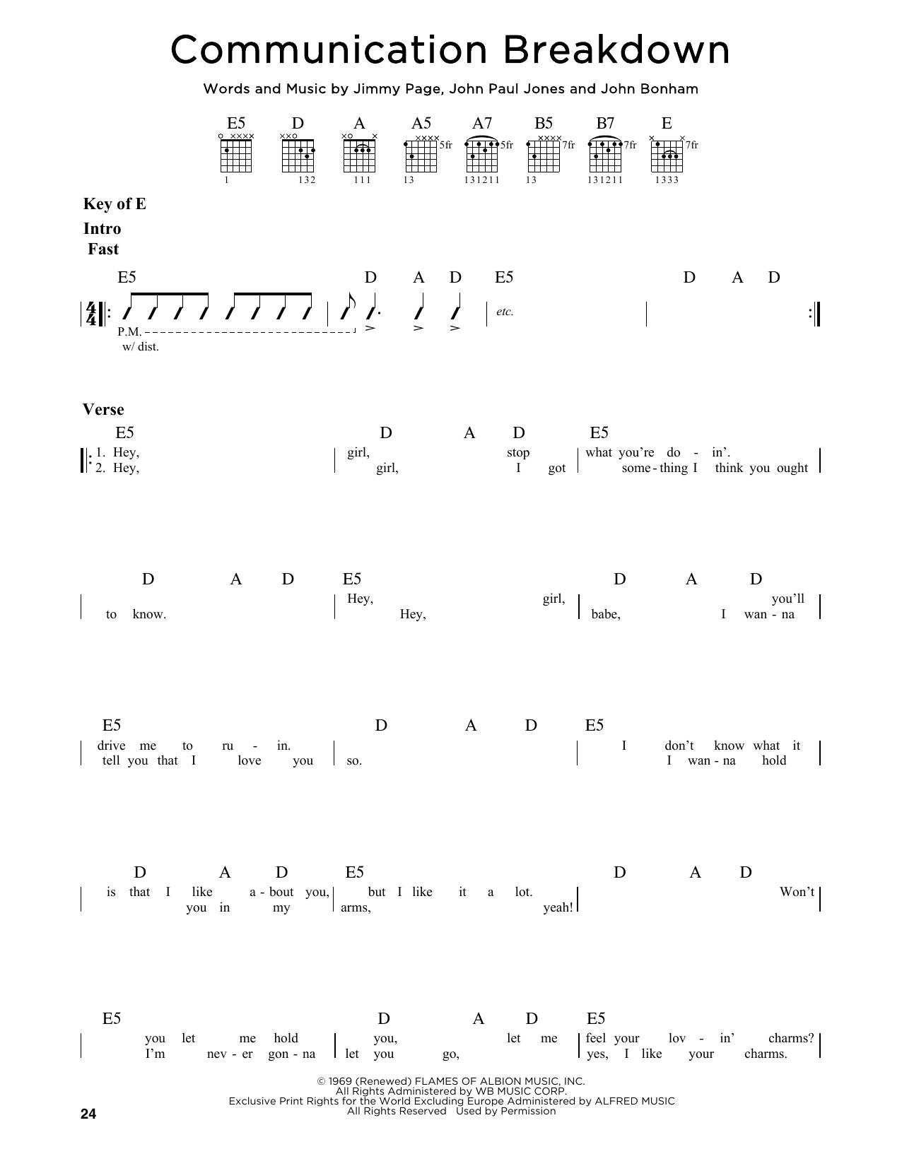 Partition autre Communication Breakdown de Led Zeppelin - Tablature Guitare Lead