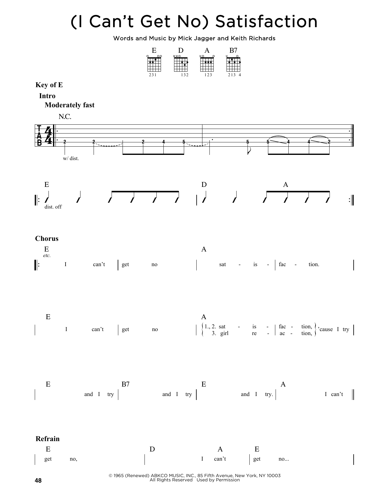 Partition autre (I Can't Get No) Satisfaction de The Rolling Stones - Tablature Guitare Lead