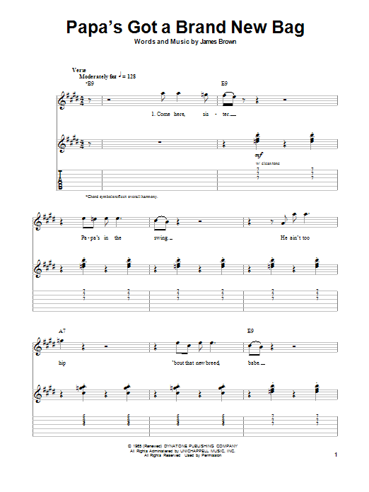 Tablature guitare Papa's Got A Brand New Bag de James Brown - Tablature Guitare