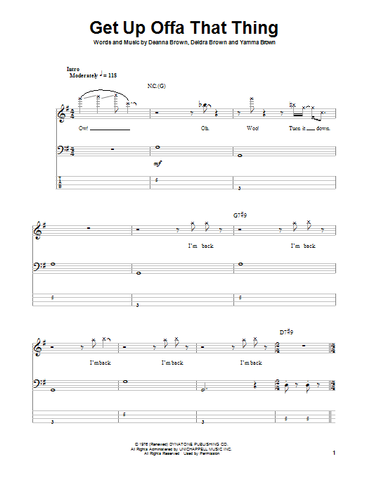 Tablature guitare Get Up Offa That Thing de James Brown - Tablature Basse
