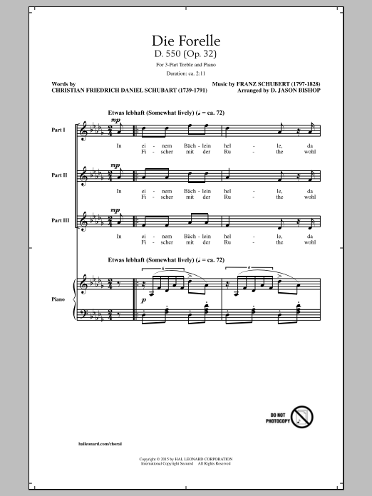 Partition chorale Die Forelle de Franz Schubert - 3 voix egales