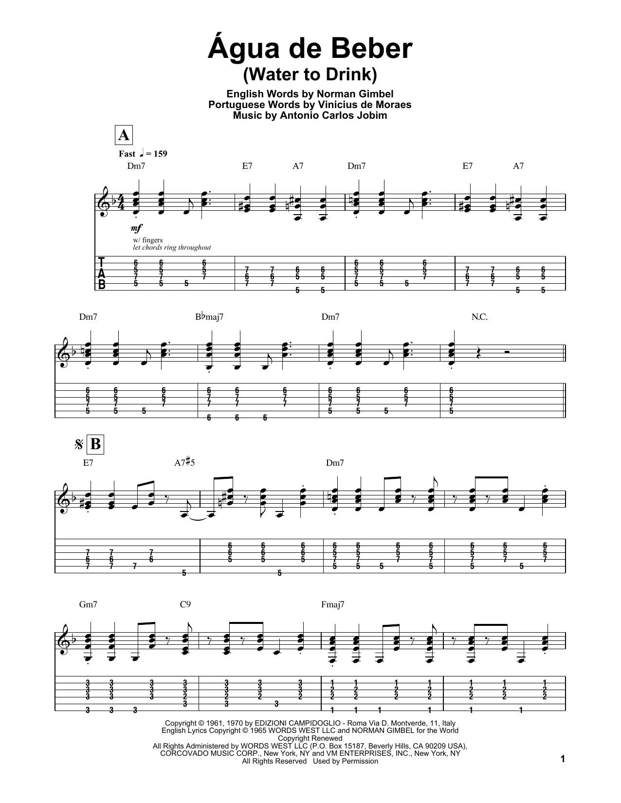 Tablature guitare Água De Beber (Water To Drink) de Antonio Carlos Jobim - Tablature Guitare