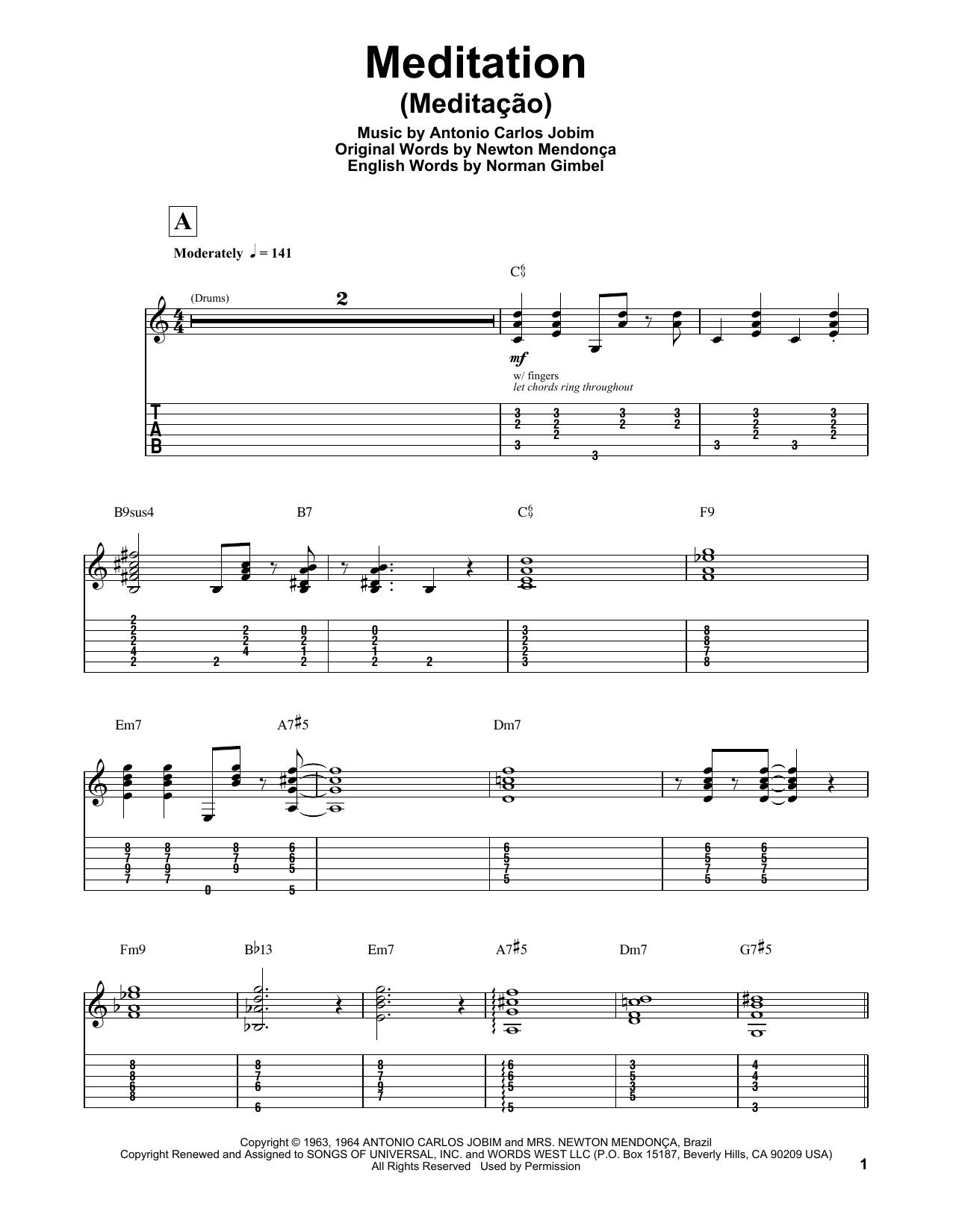 Tablature guitare Meditation (Meditacao) de Antonio Carlos Jobim - Tablature Guitare