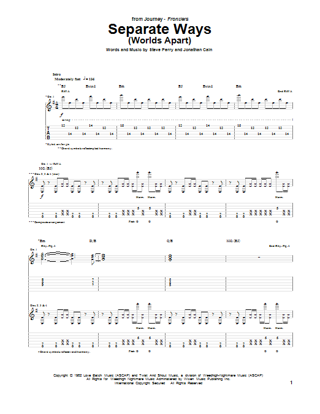 Tablature guitare Separate Ways (Worlds Apart) de Journey - Tablature Guitare