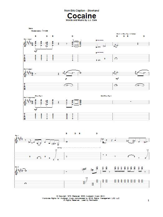 Tablature guitare Cocaine de Eric Clapton - Tablature Guitare