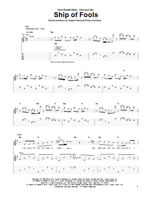 Tablature guitare Ship Of Fools de Robert Plant - Tablature Guitare