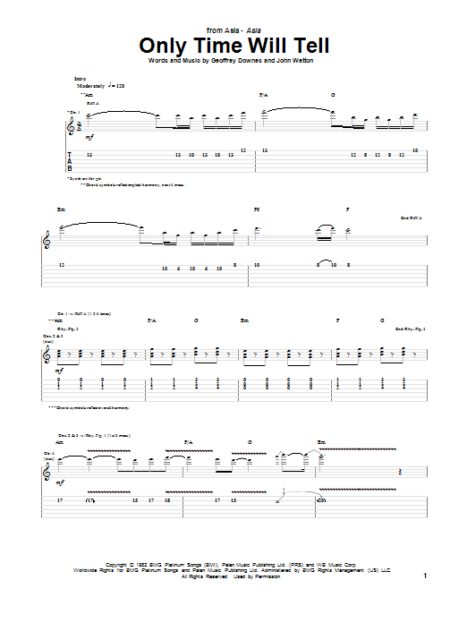 Tablature guitare Only Time Will Tell de Asia - Tablature Guitare