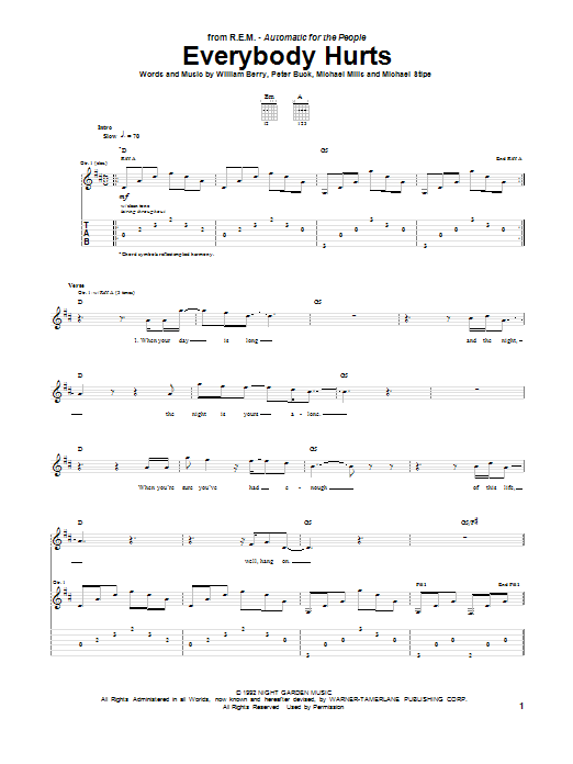 Tablature guitare Everybody Hurts de R.E.M. - Tablature Guitare