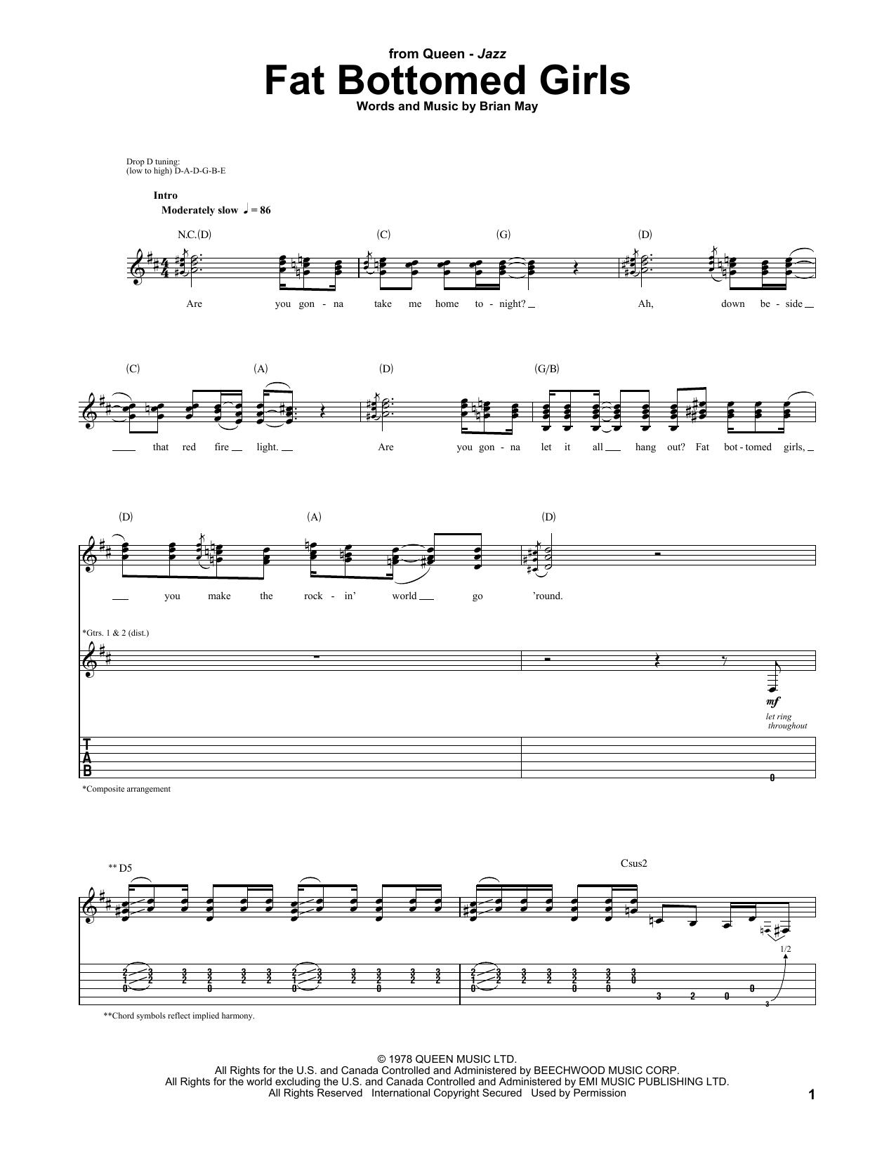 Tablature guitare Fat Bottomed Girls de Queen - Tablature Guitare