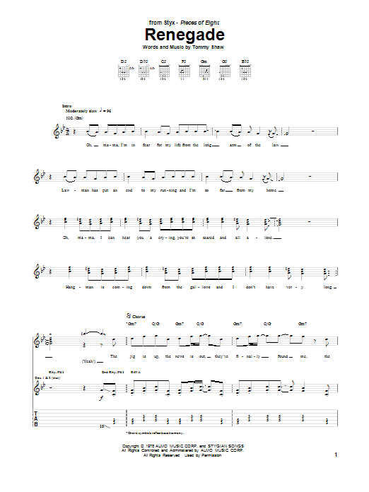 Tablature guitare Renegade de Styx - Tablature Guitare