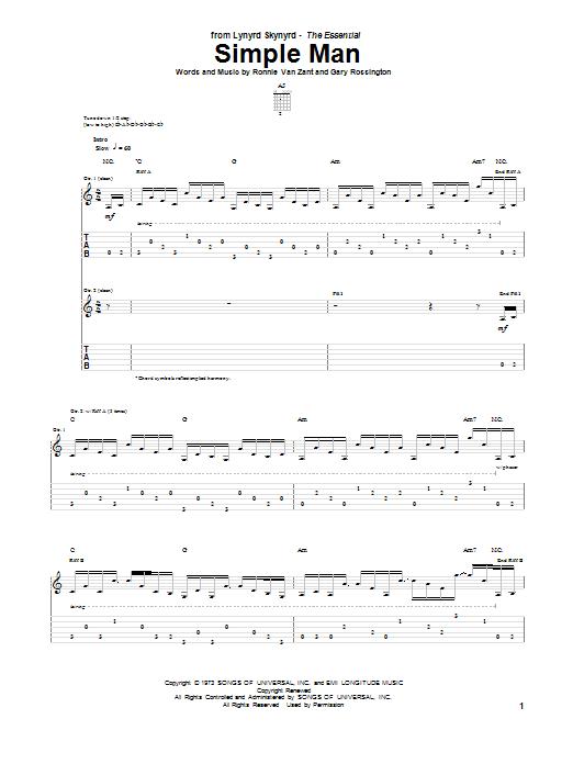 Tablature guitare Simple Man de Lynyrd Skynyrd - Tablature Guitare