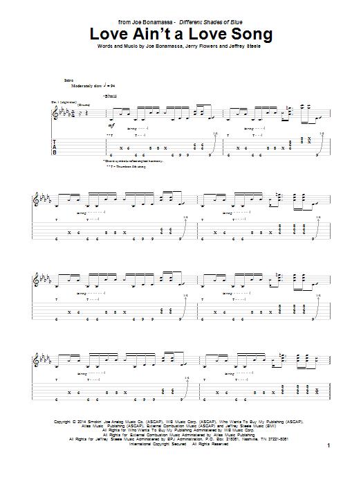 Tablature guitare Love Ain't A Love Song de Joe Bonamassa - Tablature Guitare